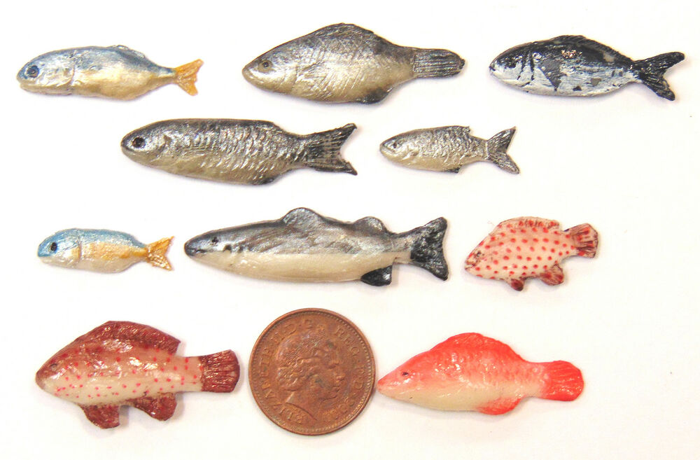 1 12 scale collection of 10 different loose fish dolls for Fish scale coke