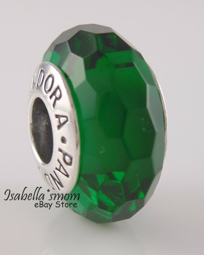 f7e2d3ab2ff Details about NEW Authentic PANDORA Faceted FASCINATING GREEN Murano Glass  Charm~Bead 791619