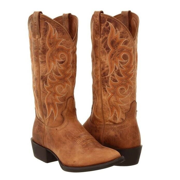 Justin Men S New Stampede Dark Tan Puma Work Western Boots