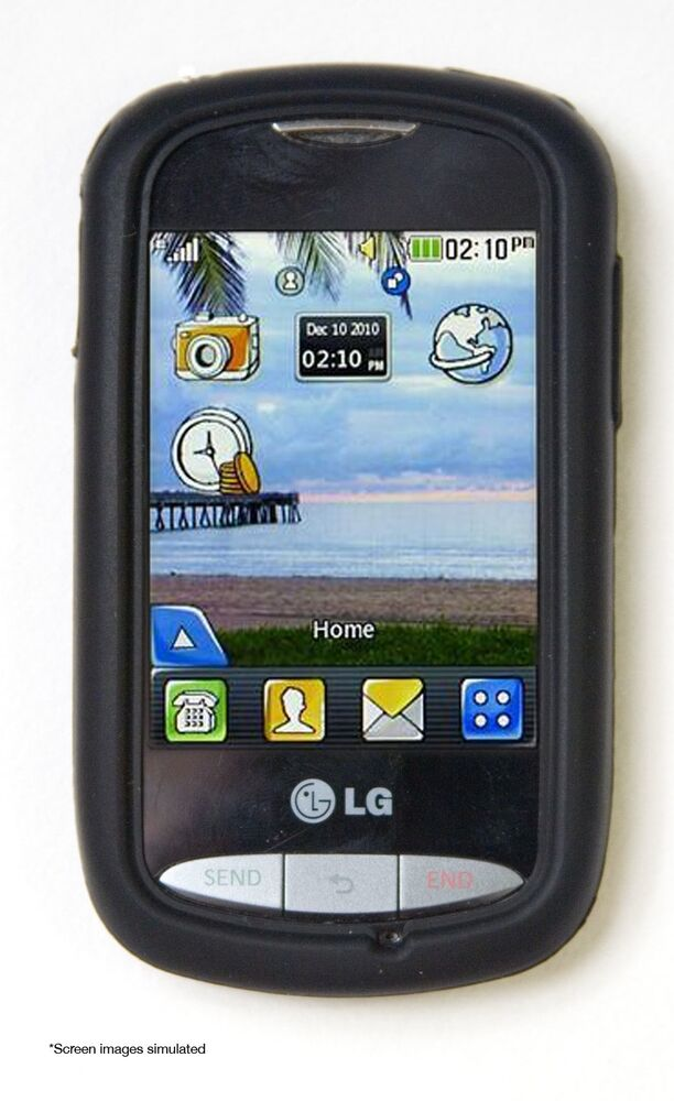 Black Case For Lg 800g Tracfone Or Net10 Rubber Silicone