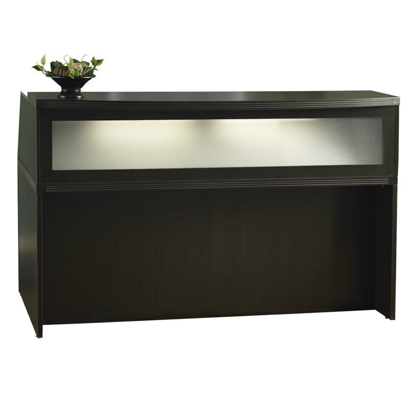 Mocha Finish Reception Desk with Textured Glass | eBay