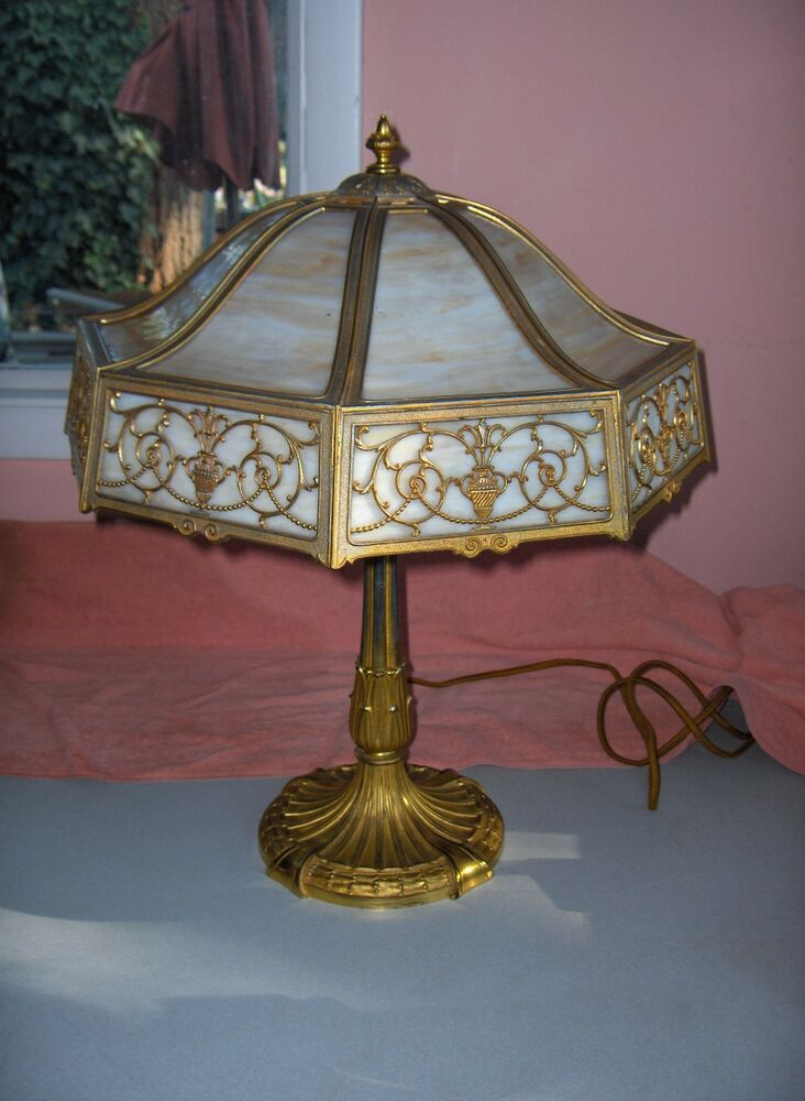 Vintage Miller Table Lamp Art Nouveau 3-Light Caramel Slag ...