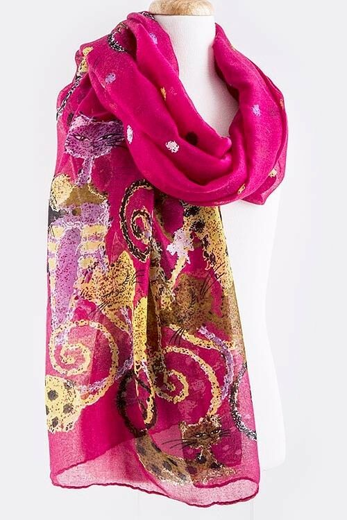 B51 fuchsia pink yellow cat art deco shawl scarf wrap for Boutique deco