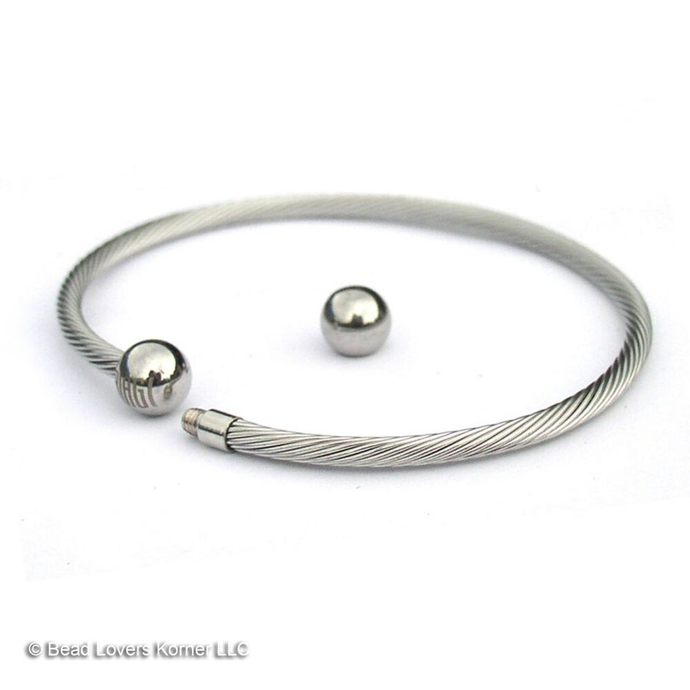 Wire Bracelets With Charms 2: European Charm Bangle Stainless Steel Bracelet Biagi Wire
