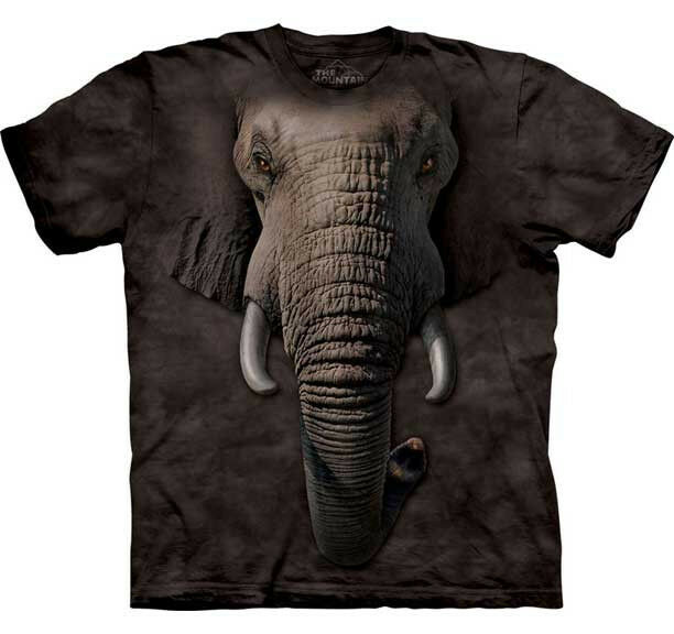 The mountain africa elephant zoo animal big face t shirt for Animal tee shirts online