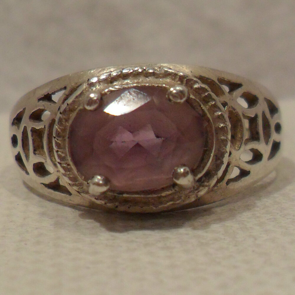 vintage antique estate amethyst 925 sterling silver