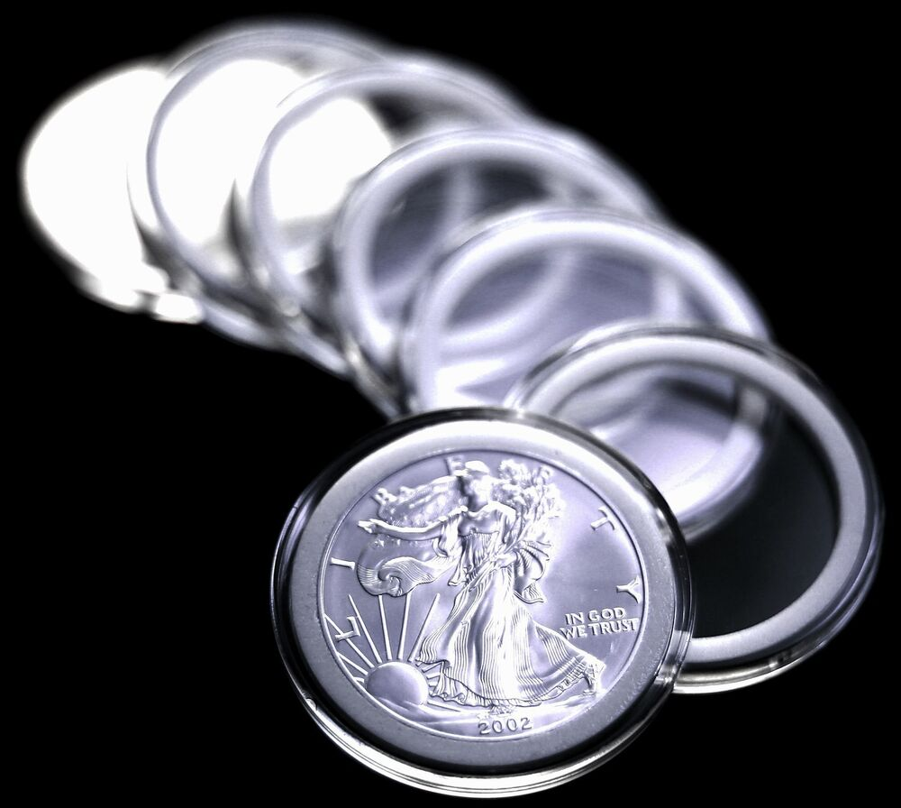 25 Airtite Coin Capsule Holders W White Rings For American