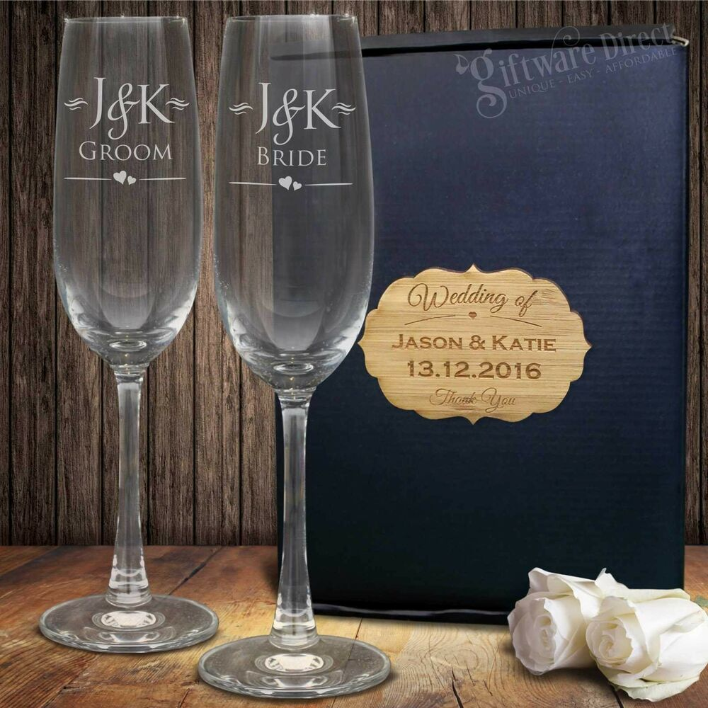 Engraved Champagne Glass Set Gift Boxed Bride & Groom