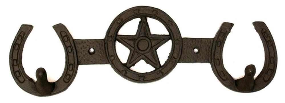Western Decor Wall Hooks : Cast iron horseshoes star hooks coat hat rack wall