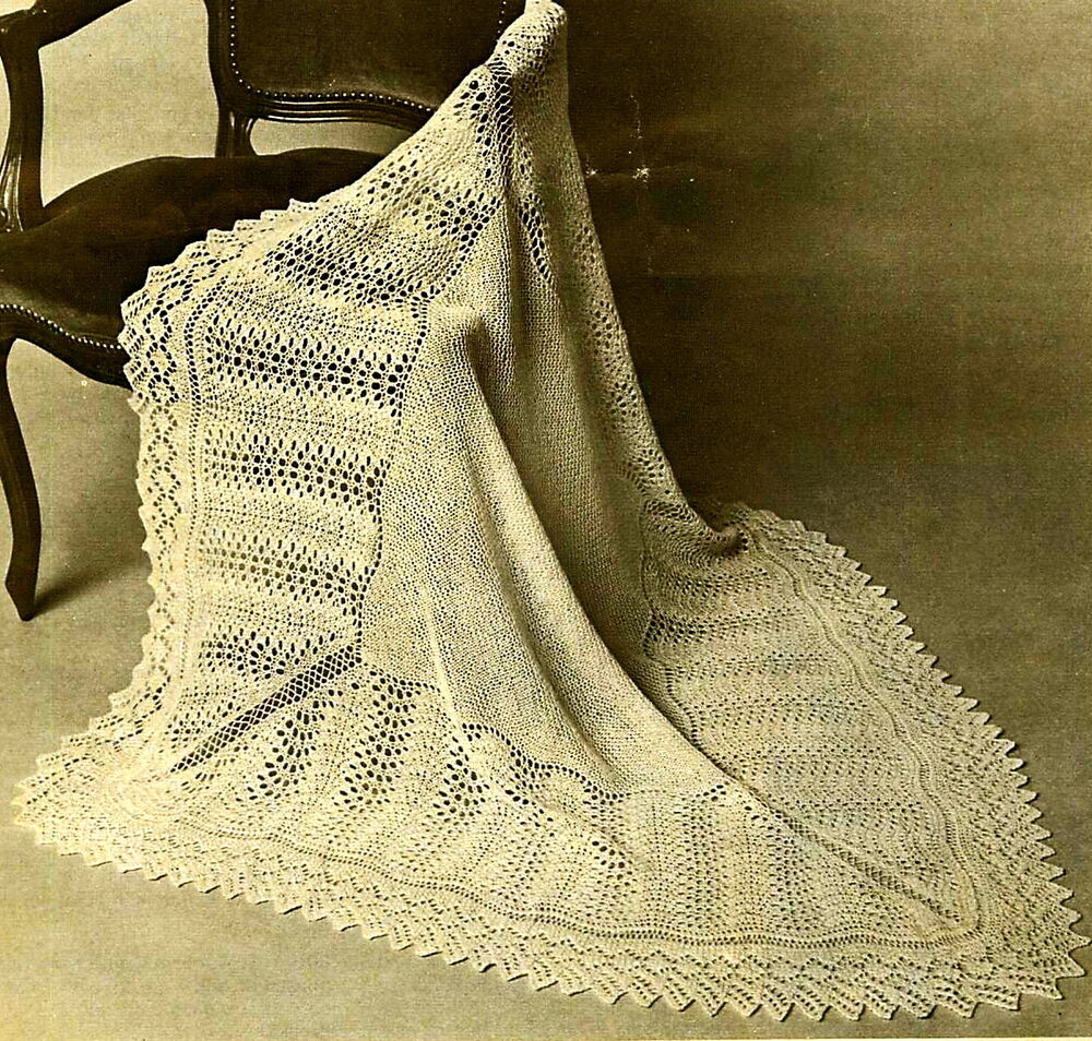Christening Shawl Knitting Pattern Free : Vintage knitting pattern- pretty baby shetland lace heirloom christening shaw...