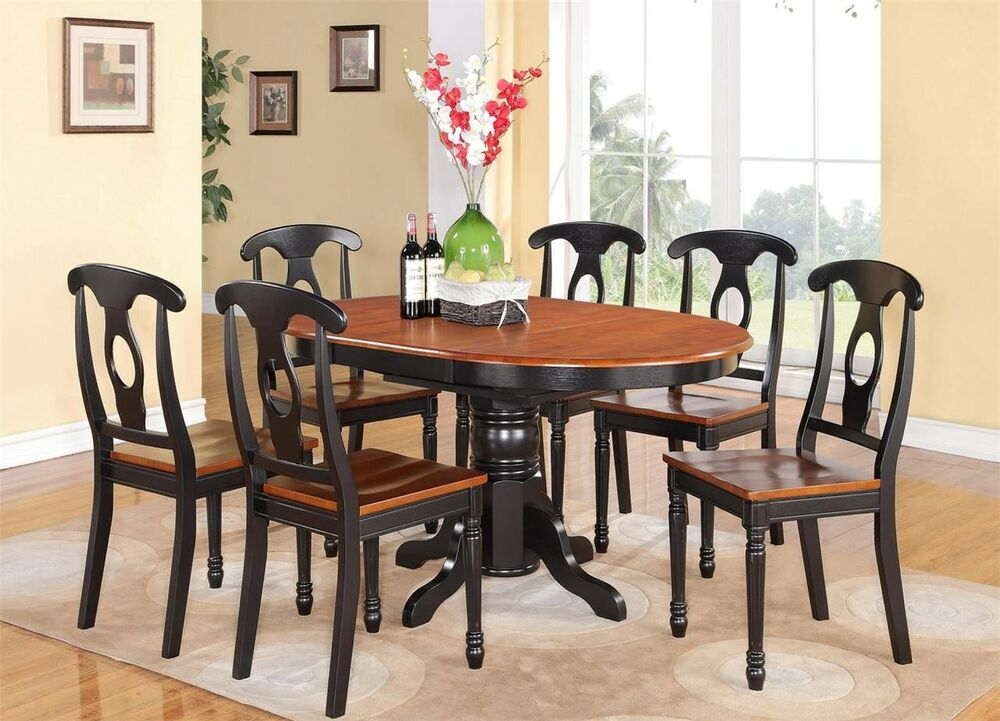 7 pc oval dinette kitchen dining set table w 6 wood seat chair in black cherry ebay. Black Bedroom Furniture Sets. Home Design Ideas