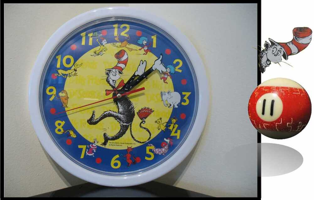 d19ebf3f New Sealed DR SEUSS Cat in the Hat character wall clock 2006 Scholastics  Horton Animation Characters ...