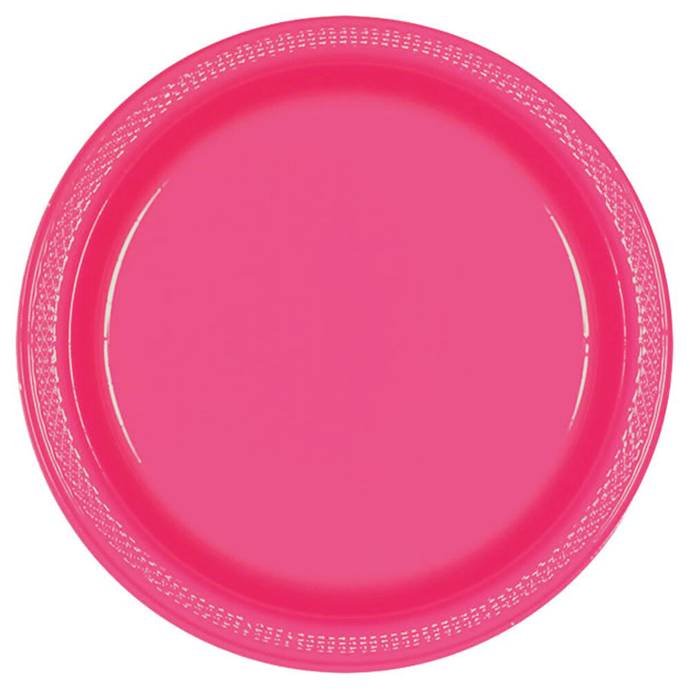 20 Magenta Pink 9 Quot Large Round Plastic Party Wedding Plates Ebay
