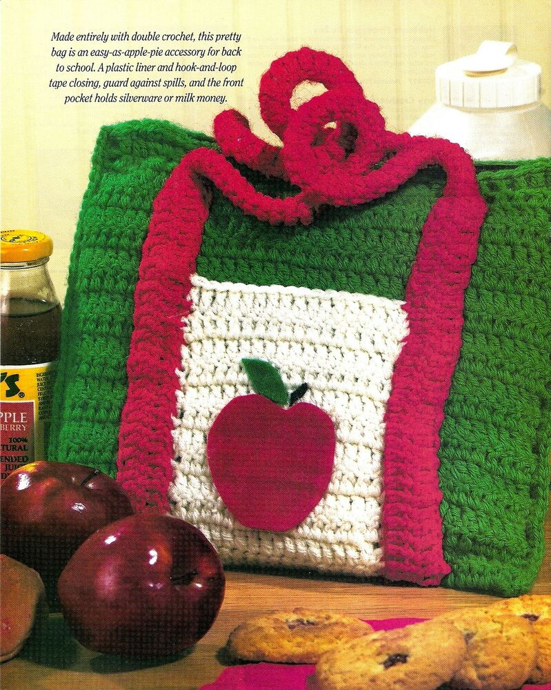 CUTE Apple Lunch Bag/TOTE BAG/ PURSE/Crochet Pattern Instructions eBay