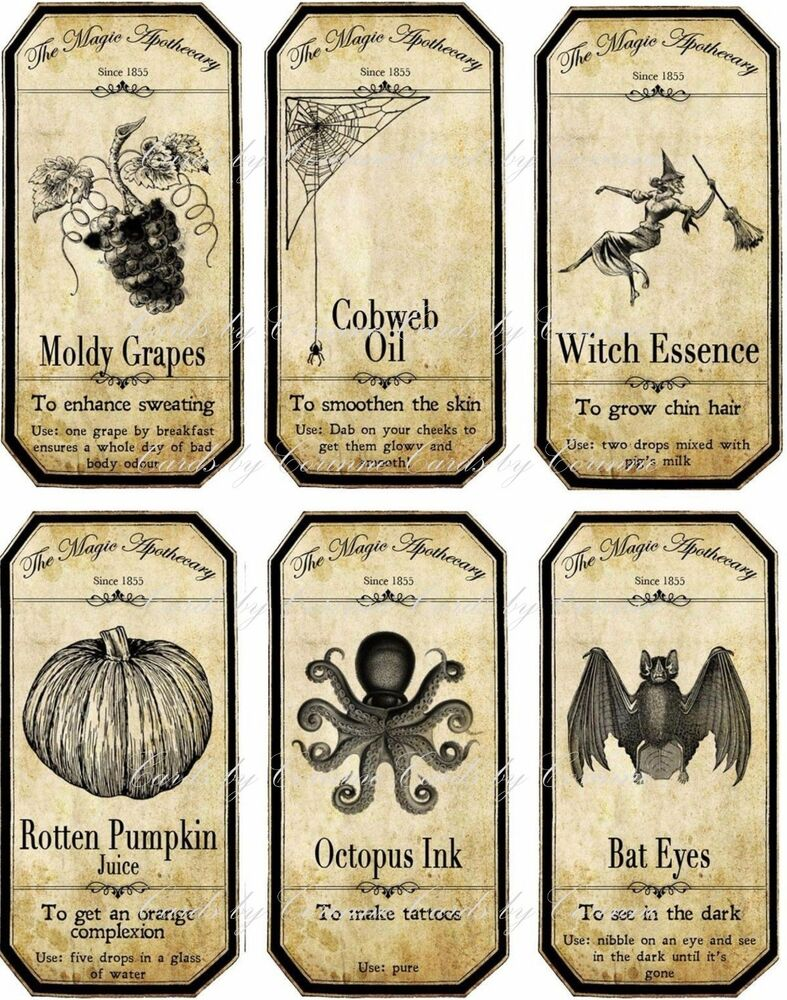 Halloween apothecary bottle label stickers set of 6 ...
