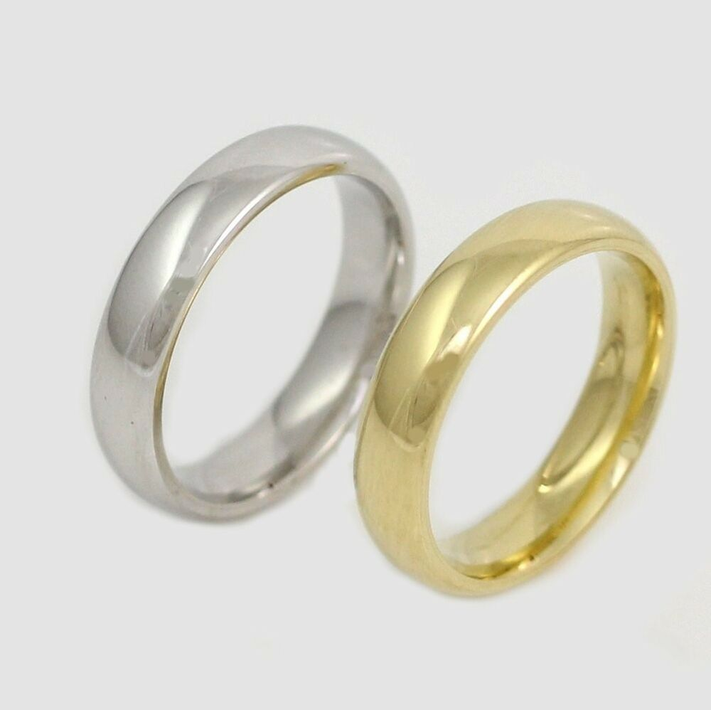 New Solid 10K 14K 4mm White Yellow Gold Comfort Fit Plain Men Wedding Band Ring