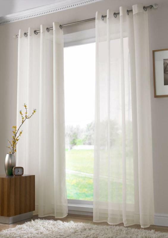 New Solid Sheer Curtain Window Curtains Metal Eyelet Voile