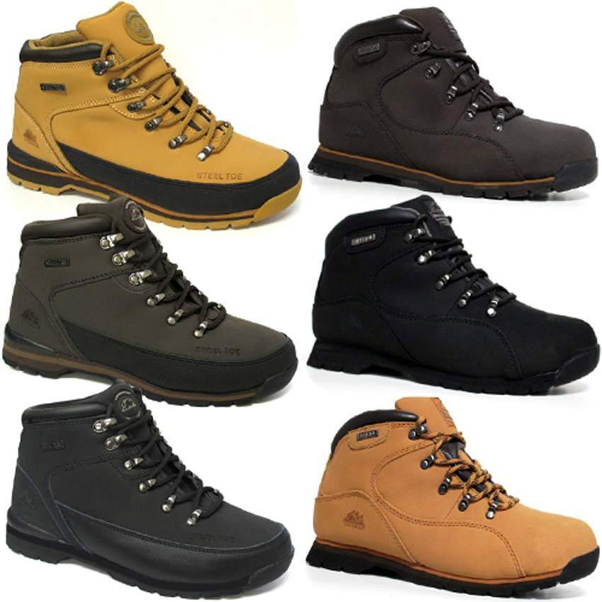 MENS GROUNDWORK LEATHER SAFETY WORK BOOTS STEEL TOE CAP SHOES TRAINER HIKER SIZE | EBay