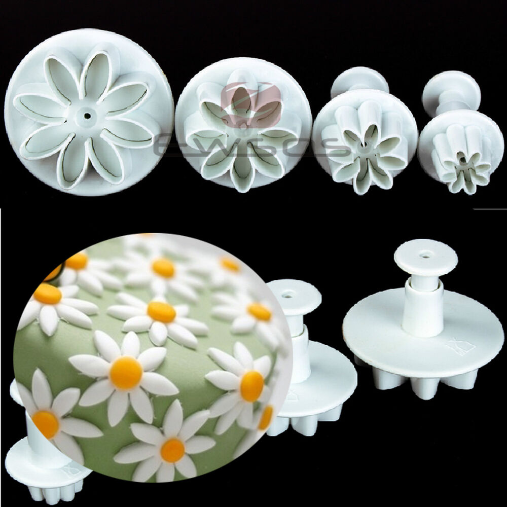 Cake Decoration Daisy : 4pcs DAISY FLOWER FONDANT ICING CUTTER PLUNGERS SUGARCRAFT ...