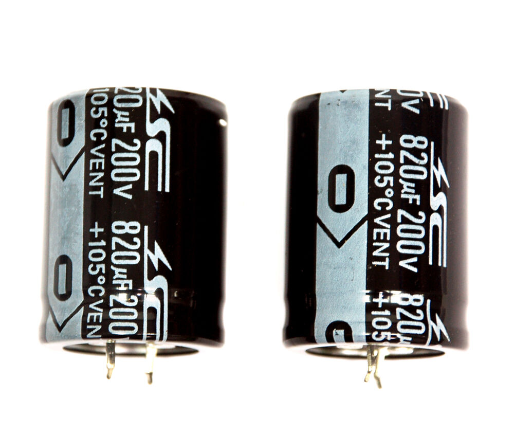 2pc Electrolytic Capacitor Snap In Can Hp 820uf 200v 105