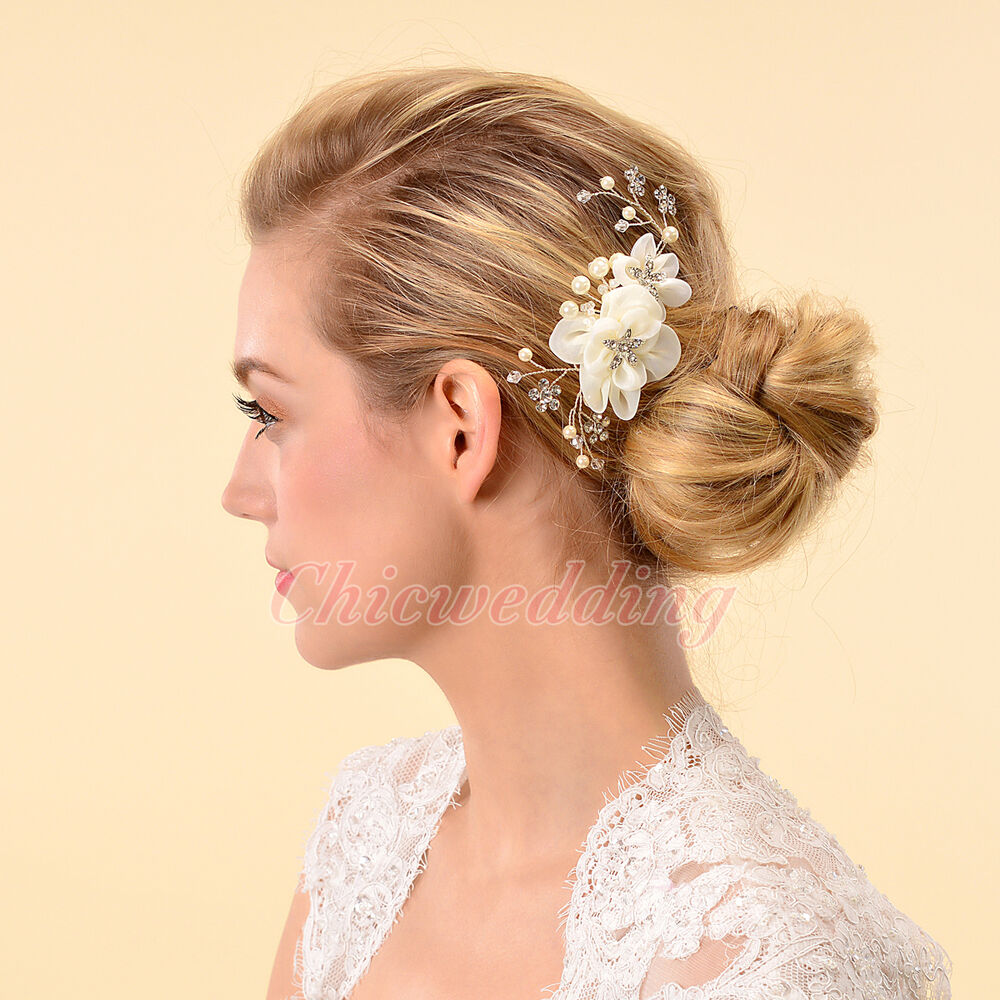 Elegant bridal hair comb silk flower crystal headpiece for Where to buy wedding accessories
