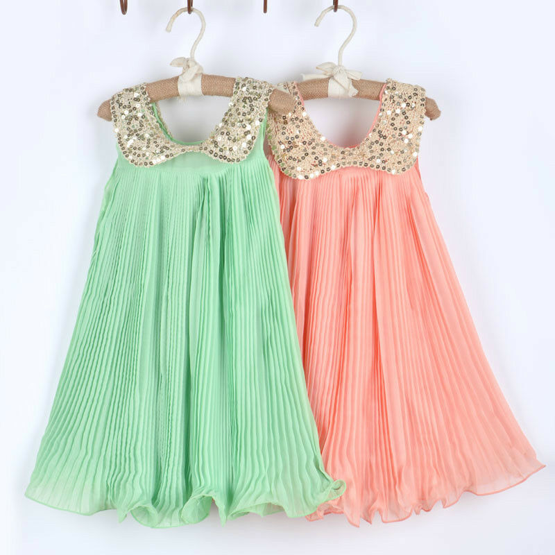 1pc Girls Kids Baby Sequin Pleated Skirt Chiffon Party