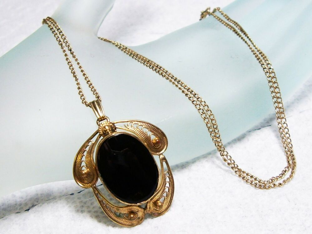 vintage 12k gf onyx filigree pendant necklace 18 ebay. Black Bedroom Furniture Sets. Home Design Ideas