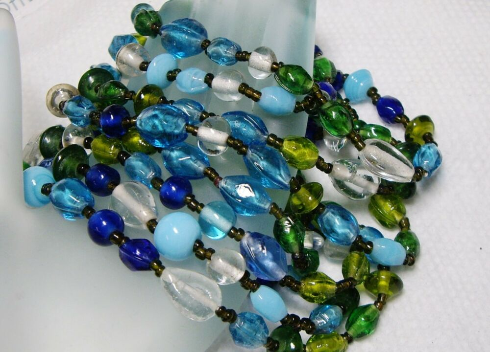 vintage glass multi bead 60 quot strand necklace ebay