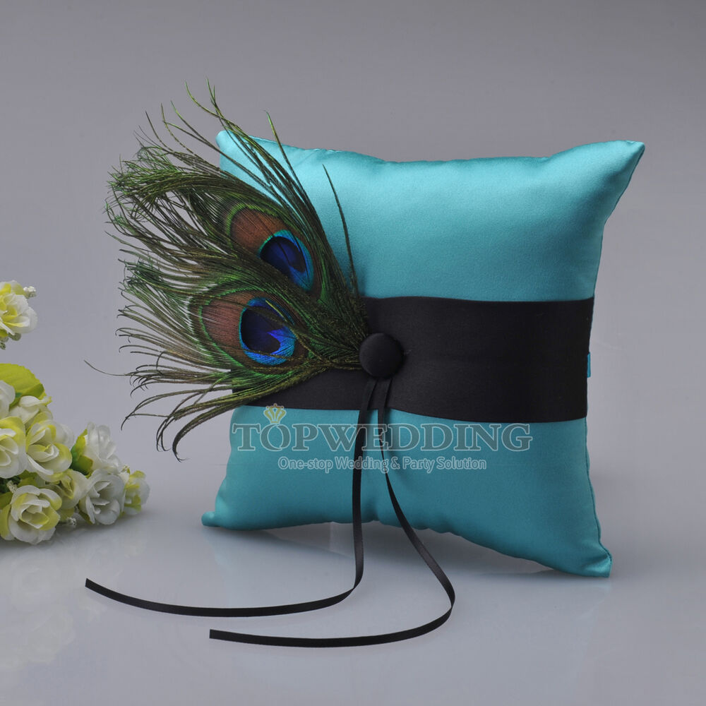 New Stylish Satin Peacock Feather Wedding Ring Pillow