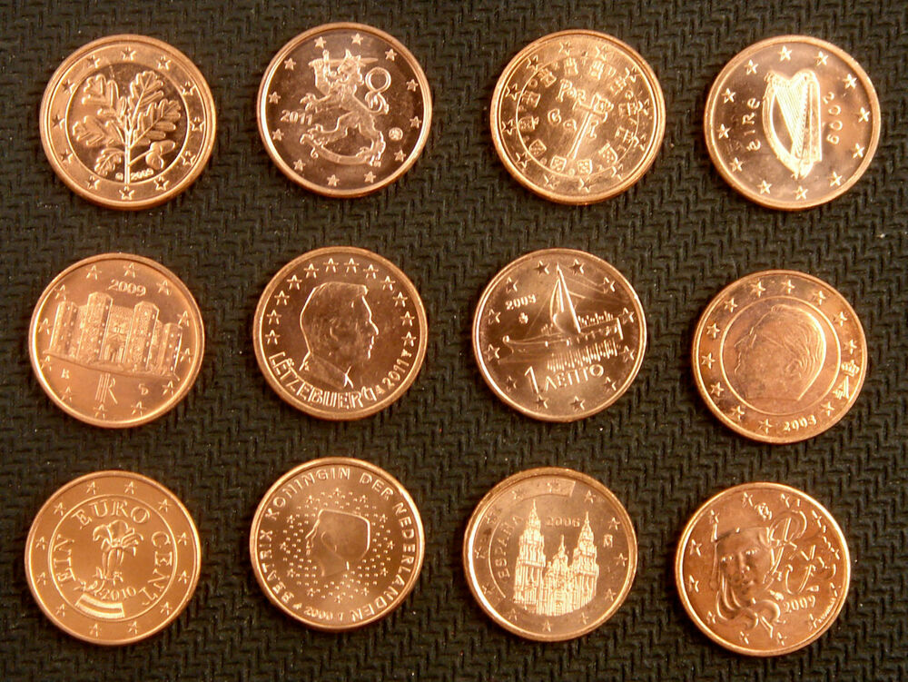 europe euro coins 1 cent of 12 countries au unc ebay. Black Bedroom Furniture Sets. Home Design Ideas