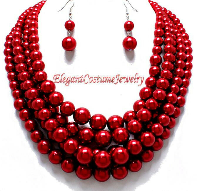 Vivid Red Chunky Amp Layered Bold Pearl Necklace Set Elegant
