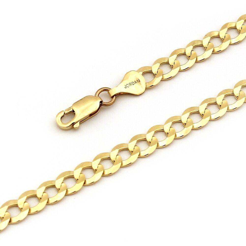 14k yellow solid gold comfort cuban curb chain necklace ebay. Black Bedroom Furniture Sets. Home Design Ideas