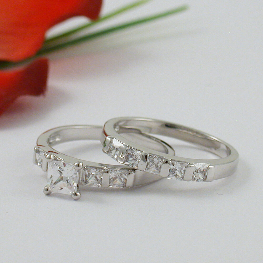 2 CARAT PRINCESS CUT WEDDING ENGAGEMENT RING SET SIZE 5 6 7 8 9 10