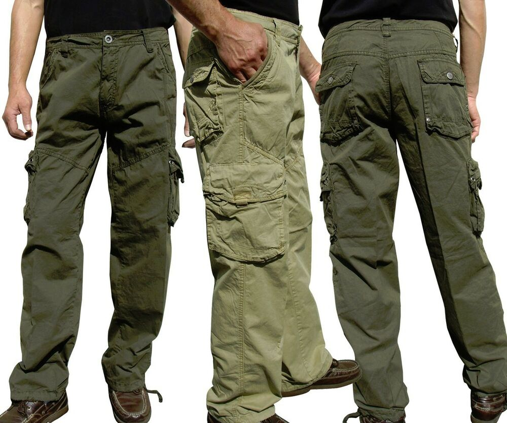 BNWT: MEN'S CASUAL MILITARY ARMY CARGO PANTS CAMO & SOLID ...