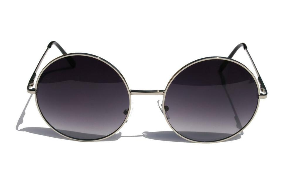 Extra Large Round Vintage Metal frame sunglasses silver ...