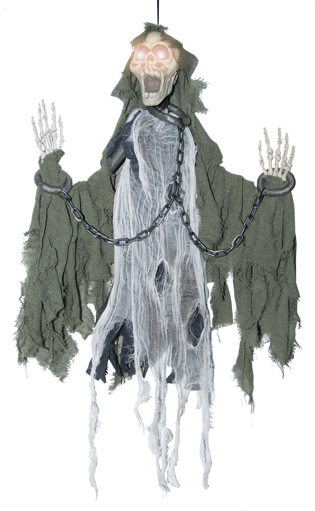 Animated reaper in chains halloween prop scary haunted for Animated halloween decoration