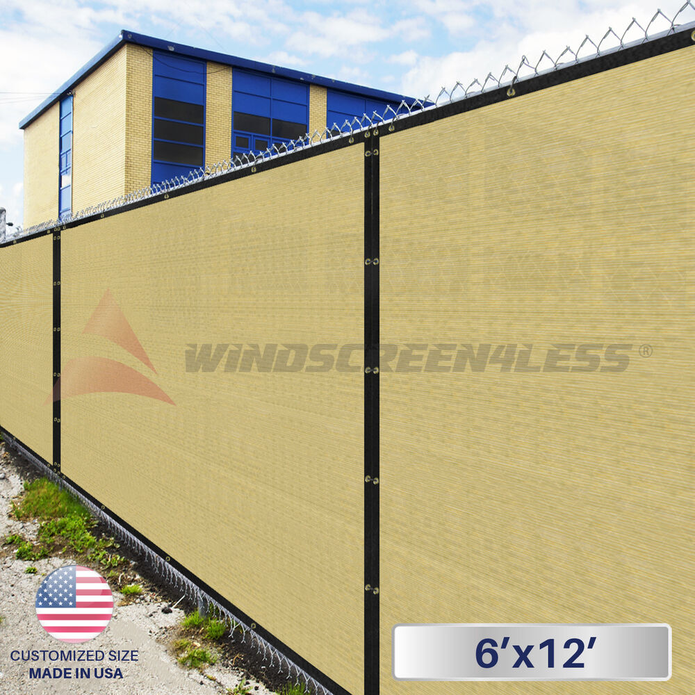 Privacy screen for chain link fence ebay - 6 X12 Beige Tan Fence Windscreen Privacy Screen Mesh Fabric Cover Shade Cloth Ebay