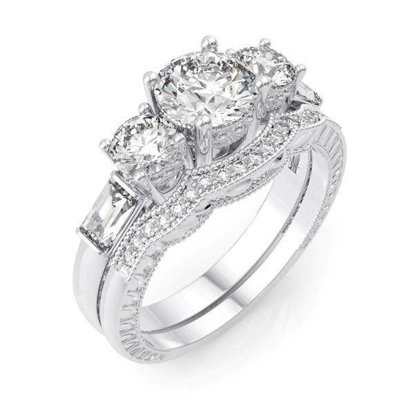 4 CARAT 925 STERLING SILVER ROUND WEDDING ENGAGEMENT RING SET SIZE 5 6 7 8 9
