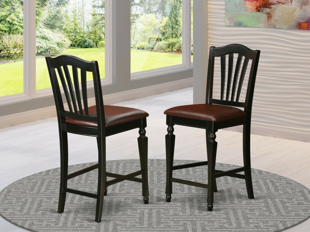 counter height bar stool chairs with faux leather seat in black ebay