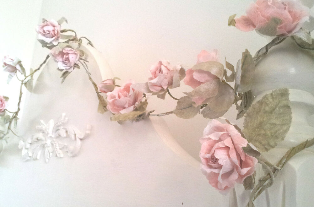 Pale Pink Rose or Cream Garland Sass & Belle Shabby ...