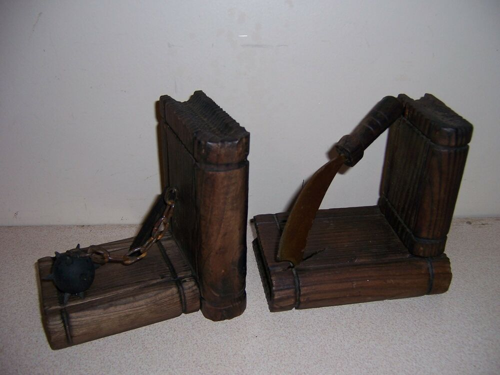 Vtg Pyrography Wood Metal Gothic Medieval Weapons Bookends Ebay