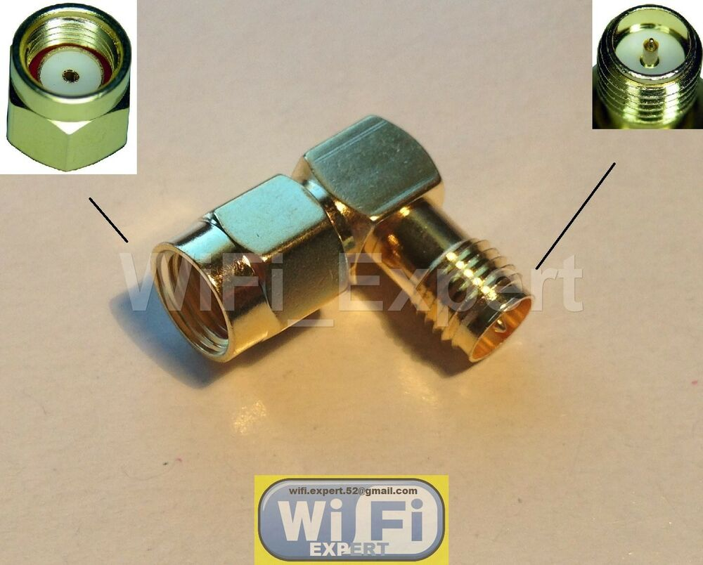 Rf Adapter Rp Sma Male To Rp Sma Female Right Angle Rf