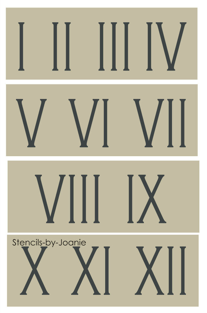 "Roman Numeral STENCIL 3"" Skinny Number Clock Shabby ..."