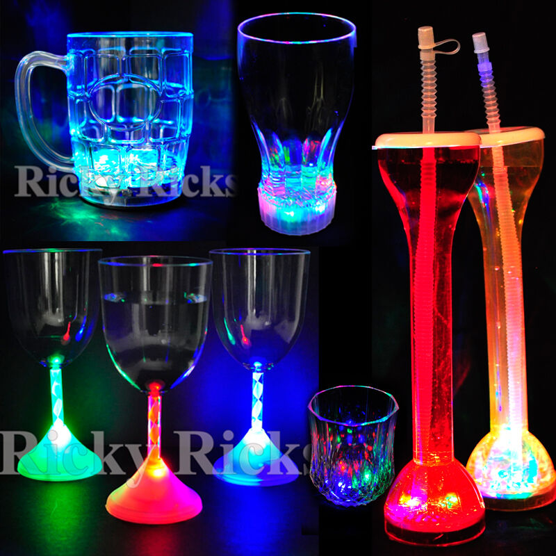 Lite Up Glass Lamps : Led light up drink glasses flashing acrylic blinking cola