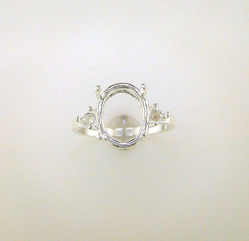 oval with 3 mm accents ring setting sterling silver
