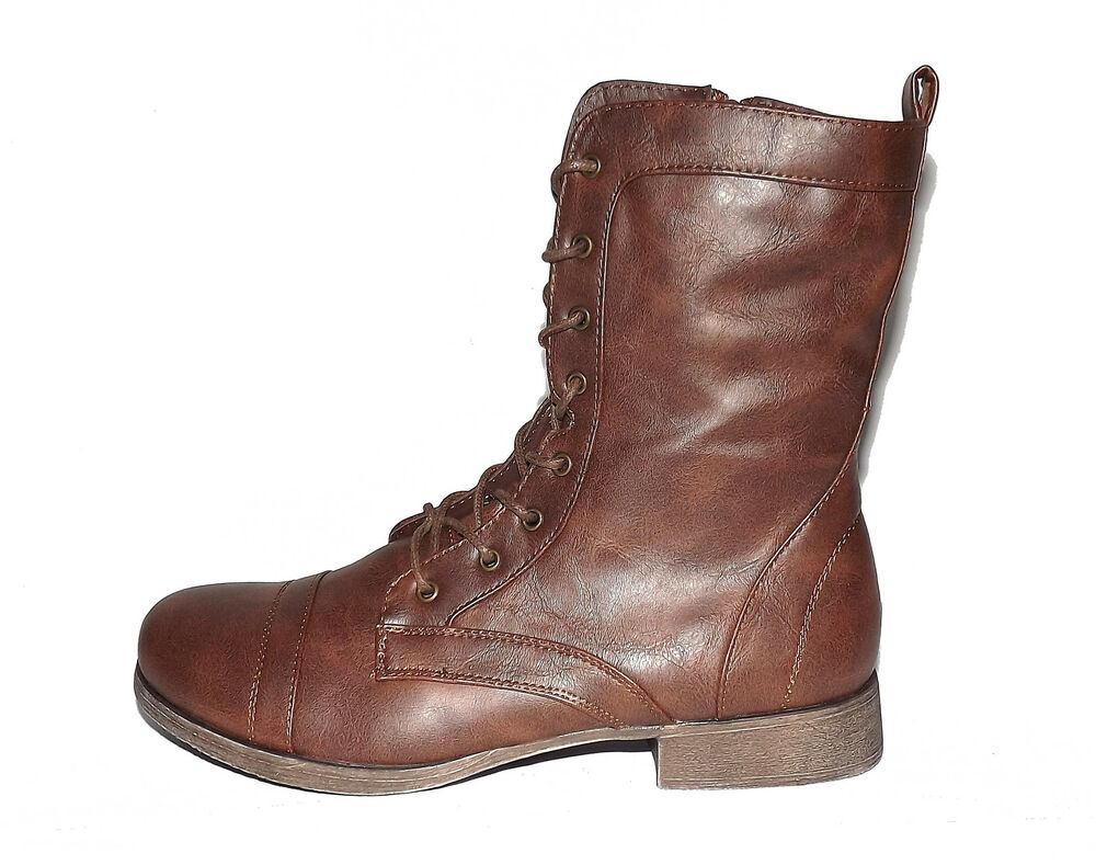 Fantastic Brown Leather Combat Boots 10 Womens Lace Up Chunk Heel