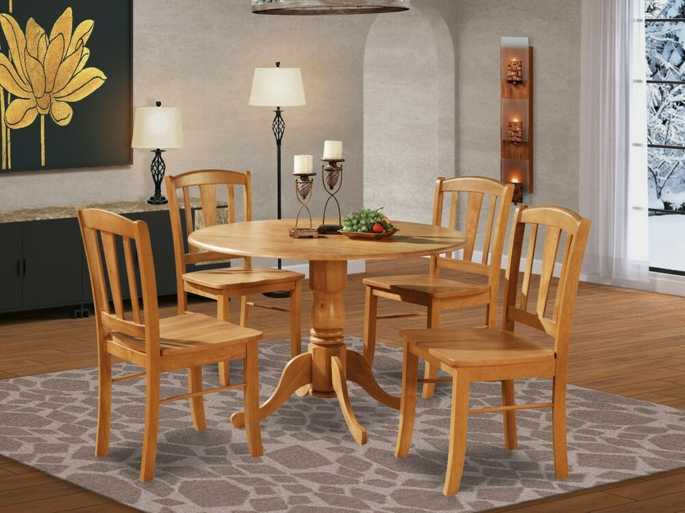 5pc round pedestal drop leaf kitchen table 4 chairs solid wood light oak ebay - Pedestal kitchen table set ...