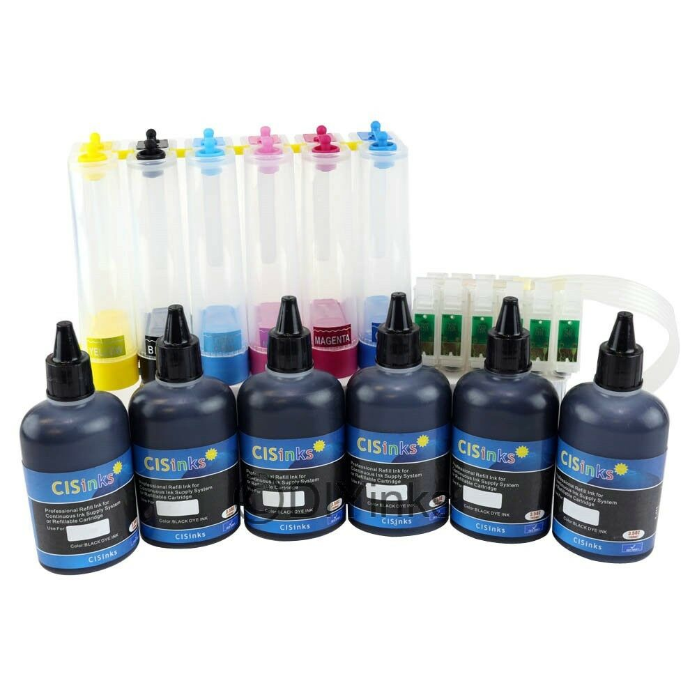 Empty Ciss With 6 Black Ink Set For Screen Printing For