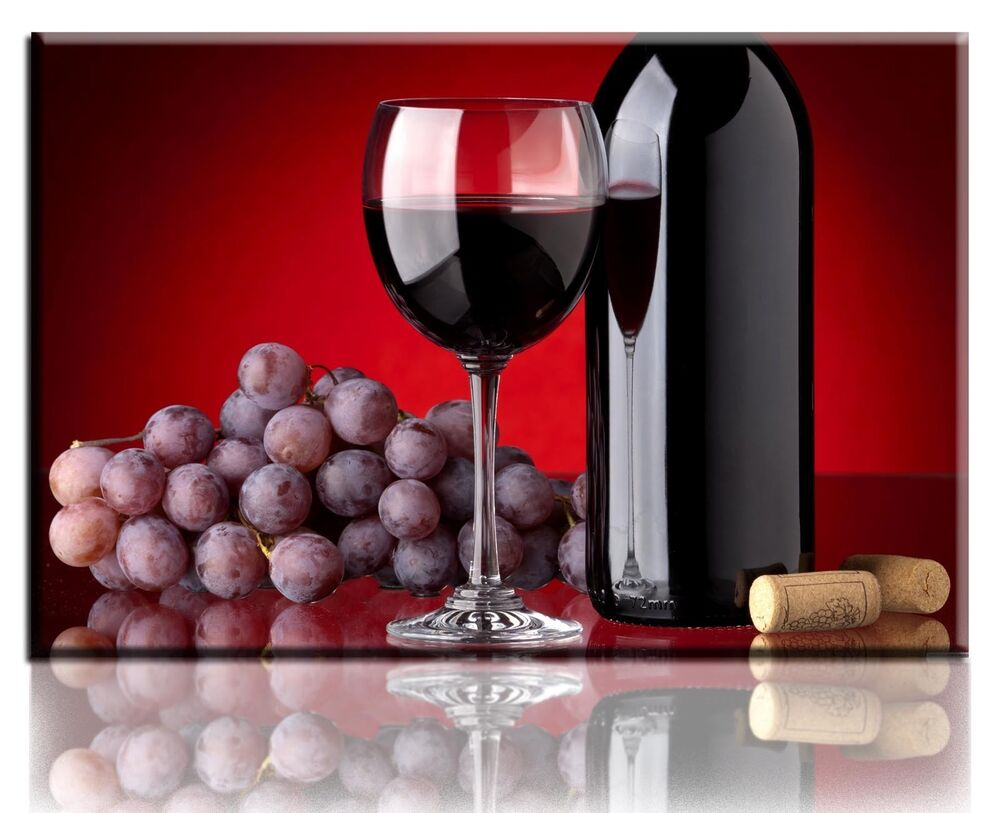 Wall Art Canvas Picture Print Bottle Of Red Wine Framed