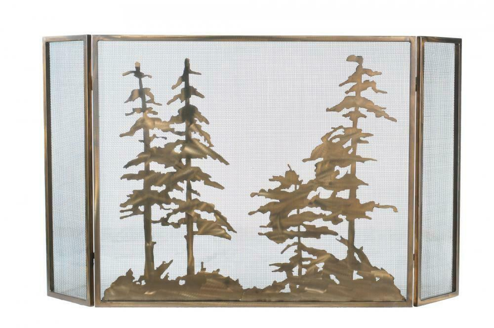 tiffany tall pines rustic fireplace screen antique copper finish 60